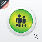 Board games sign icon. 2-6 players symbol.