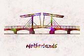 Netherlands Landmark Bridge in watercolor