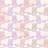 Seamless Pattern with Cat Silholuettes