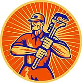 plumber holding a monkey wrench