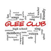 Glee Club Word Cloud Concept in red caps