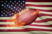 American football ball with flag on backround series - USA