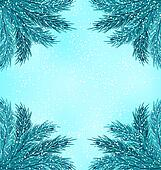Winter Nature Background with Fir Branches and Snow Fall