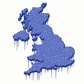britain 3d map in steel blue