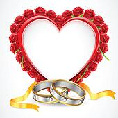 Pair of Rings with Rose Heart