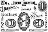 Set of Vintage Financial Grpahic Elements