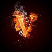 Fire Swirl Letter V