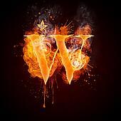 Fire Swirl Letter W