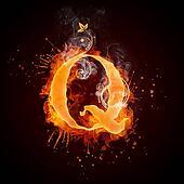 Fire Swirl Letter Q