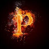 Fire Swirl Letter P