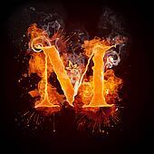 Fire Swirl Letter M