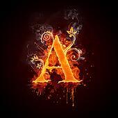 Fire Swirl Letter A