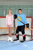 Teen Figure Skater Hockey Player Couple