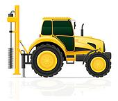 tractor with a drilling rig illustration