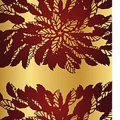 Red floral lace borders on gold