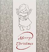 Rich ornate Christmas background with singing angel.