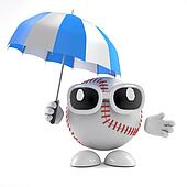 3d Baseball has an umbrella