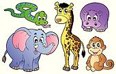 Set of cute African animals