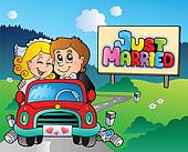 Just married couple driving car
