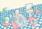 penguins in the bathroom