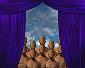 Faceless Masses behind curtain