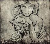 Tattoo art, sketch of mistic woman