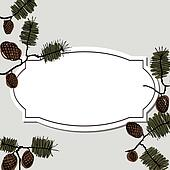 frame for text with fir cone and twig