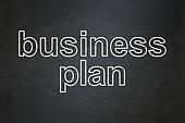 Finance concept: Business Plan on chalkboard background