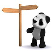 3d Panda bear at road sign