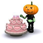 3d Pumpkin head has a nice cake