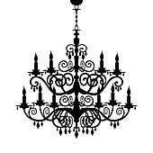 Baroque chandelier silhouette