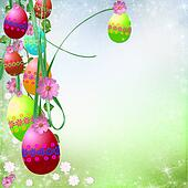 Spring or Easter background with Colorful easter eggs and flowers  hanging on ribbons