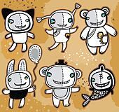 Cute vector toys animals