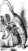 Lobster primping before a mirror - Alice's Adventures in Wonderl