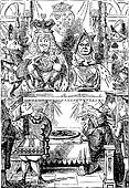 Frontispiece: The King and Queen inspecting the tarts. Alice in