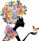 flower girl in profile with a butterfly