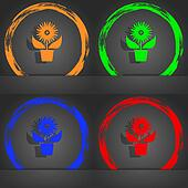 Flowers in pot icon sign. Fashionable modern style. In the orange, green, blue, red design.