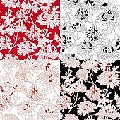 Set of Seamless  With Chrysanthemum.