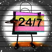 Twenty four Seven Shopping Bag Shows Hours Open