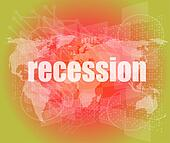 Business concept: words recession on business digital screen, 3d