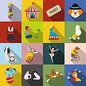 Circus flat icons set