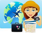 Young woman travelling around the world