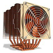 Powerful copper CPU cooler