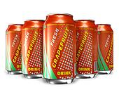 Set of grapefruit soda drinks