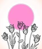 Vector card with hand drawn tulips on pink circle.