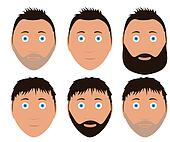 set of man faces with different hairstyle and beard black