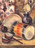 Watercolor still life with a drum