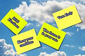 Vote 2012 sticky notes in clouds