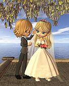 Cute Toon Wedding Couple on Balcony
