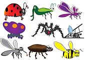various insects,bugs,cartoon beetle